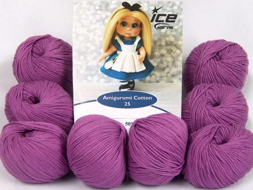 Lot of 8 Skeins Ice Yarns AMIGURUMI COTTON 25 (50% Cotton) Yarn Lavender