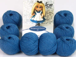 Lot of 8 Skeins Ice Yarns AMIGURUMI COTTON 25 (50% Cotton) Yarn Jeans Blue