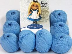 Lot of 8 Skeins Ice Yarns AMIGURUMI COTTON 25 (50% Cotton) Yarn Light Blue