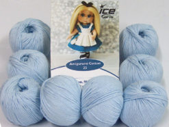 Lot of 8 Skeins Ice Yarns AMIGURUMI COTTON 25 (50% Cotton) Yarn Baby Blue