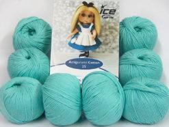 Lot of 8 Skeins Ice Yarns AMIGURUMI COTTON 25 (50% Cotton) Yarn Light Emerald Green