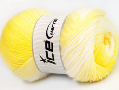 Lot of 4 x 100gr Skeins Ice Yarns BABY BATIK Yarn Yellow Shades White