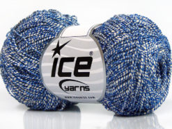 Lot of 8 Skeins Ice Yarns URBAN COTTON LUX (60% Cotton 28% Viscose) Yarn Blue White