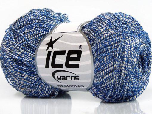 Lot of 8 Skeins Ice Yarns URBAN COTTON LUX (60% Cotton 28% Viscose) Yarn Blue White
