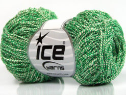 Lot of 8 Skeins Ice Yarns URBAN COTTON LUX (60% Cotton 28% Viscose) Yarn Green White