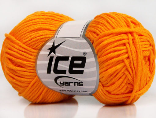 Lot of 8 Skeins Ice Yarns BABY SUMMER DK (50% Cotton) Hand Knitting Yarn Orange