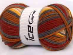 Lot of 4 x 100gr Skeins Ice Yarns SALE SOCK YARN (75% Superwash Wool) Yarn Copper Grey Cream Yellow