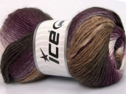 Lot of 4 x 100gr Skeins Ice Yarns RAINBOW Yarn Brown Shades Purple Lilac White