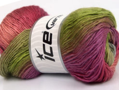 Lot of 4 x 100gr Skeins Ice Yarns RAINBOW Yarn Green Lilac Pink Shades Grey