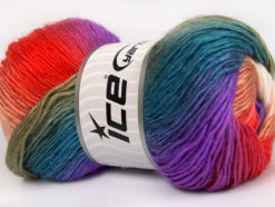 Lot of 4 x 100gr Skeins Ice Yarns RAINBOW Yarn Khaki Turquoise Lilac Salmon White