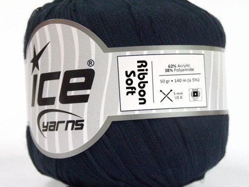 Lot of 6 Skeins Ice Yarns RIBBON SOFT Hand Knitting Yarn Dark Navy