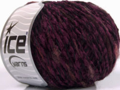 Lot of 8 Skeins Ice Yarns CHENILLE WOOL FLAMME (15% Wool) Yarn Purple Black Red