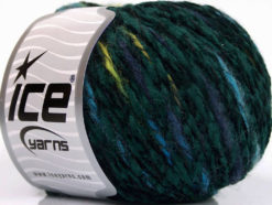 Lot of 8 Skeins Ice Yarns CHENILLE WOOL FLAMME (15% Wool) Yarn Dark Green Turquoise Jeans Blue Light Green
