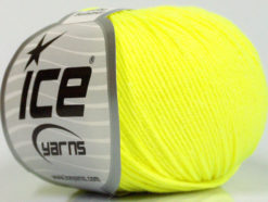 Lot of 8 Skeins Ice Yarns BABY SUMMER (60% Cotton) Yarn Neon Yellow