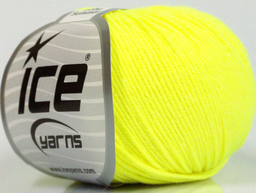 Lot of 8 Skeins Ice Yarns BABY SUMMER (60% Cotton) Yarn Neon Yellow