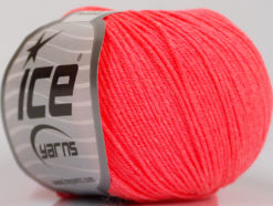 Lot of 8 Skeins Ice Yarns BABY SUMMER (60% Cotton) Yarn Neon Salmon