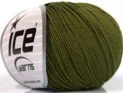 Lot of 4 Skeins Ice Yarns AMIGURUMI COTTON (60% Cotton) Yarn Dark Khaki