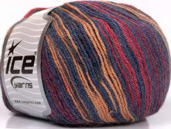 Lot of 4 x 100gr Skeins Ice Yarns ALPACA FINE MAGIC (25% Alpaca 35% Wool) Yarn Jeans Blue Burgundy Cream