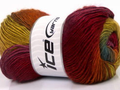 Lot of 4 x 100gr Skeins Ice Yarns RAINBOW Yarn Purple Burgundy Copper Green Gold Turquoise