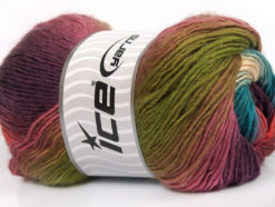 Lot of 4 x 100gr Skeins Ice Yarns RAINBOW Yarn Green Rose Pink Purple Salmon Turquoise White