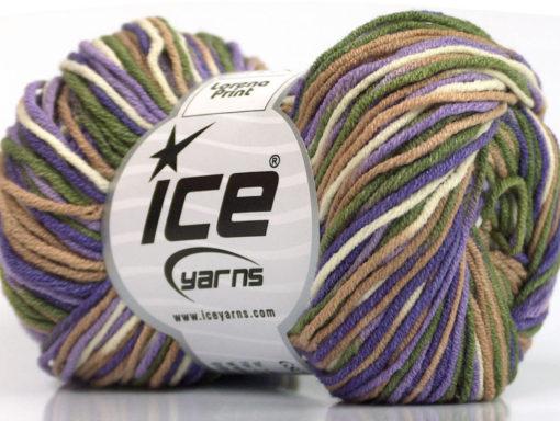 Lot of 8 Skeins Ice Yarns LORENA PRINT (55% Cotton) Yarn Lavender Lilac Camel Khaki Cream