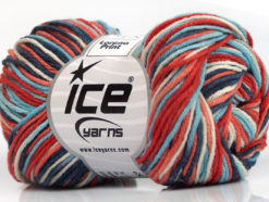 Lot of 8 Skeins Ice Yarns LORENA PRINT (55% Cotton) Yarn Blue Shades Salmon Red White