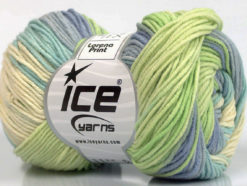 Lot of 8 Skeins Ice Yarns LORENA PRINT (55% Cotton) Yarn Green Blue Shades Cream