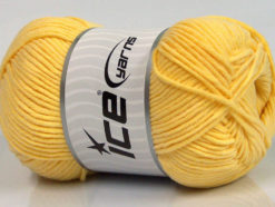 Lot of 4 x 100gr Skeins Ice Yarns LORENA WORSTED (55% Cotton) Yarn Yellow