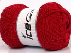 Lot of 4 x 100gr Skeins Ice Yarns LORENA SUPERFINE (55% Cotton) Yarn Dark Red