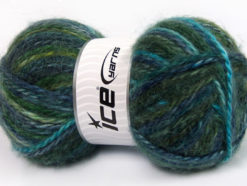Lot of 2 x 150gr Skeins Ice Yarns SuperBulky ALPINE ANGORA COLOR (30% Angora) Yarn Green Navy Turquoise