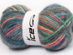 Lot of 2 x 150gr Skeins Ice Yarns SuperBulky ALPINE ANGORA COLOR (30% Angora) Yarn Teal Green Pink Blue Gold