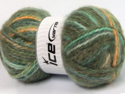 Lot of 2 x 150gr Skeins Ice Yarns SuperBulky ALPINE ANGORA COLOR (30% Angora) Yarn Green Shades Gold