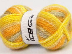 Lot of 2 x 150gr Skeins Ice Yarns SuperBulky ALPINE ANGORA COLOR (30% Angora) Yarn Yellow Gold Light Grey