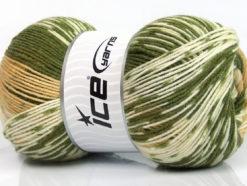 Lot of 2 x 150gr Skeins Ice Yarns JACQUARD WOOL (30% Wool) Yarn Green Cafe Latte Cream