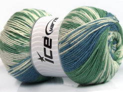 Lot of 2 x 150gr Skeins Ice Yarns JACQUARD WOOL (30% Wool) Yarn Green Blue Cream