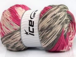 Lot of 2 x 150gr Skeins Ice Yarns JACQUARD WOOL (30% Wool) Yarn Pink Grey Cream