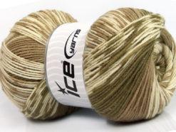 Lot of 2 x 150gr Skeins Ice Yarns JACQUARD WOOL (30% Wool) Yarn Khaki Camel Cream