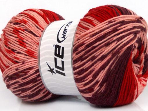 Lot of 2 x 150gr Skeins Ice Yarns JACQUARD WOOL (30% Wool) Yarn Maroon Red Pink