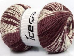 Lot of 2 x 150gr Skeins Ice Yarns JACQUARD WOOL (30% Wool) Yarn Maroon Shades White