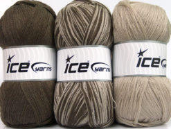 Lot of 3 x 100gr Skeins Ice Yarns BABY OMBRE Hand Knitting Yarn Beige Brown