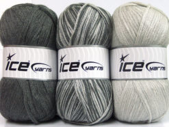 Lot of 3 x 100gr Skeins Ice Yarns BABY OMBRE Yarn Grey Light Grey
