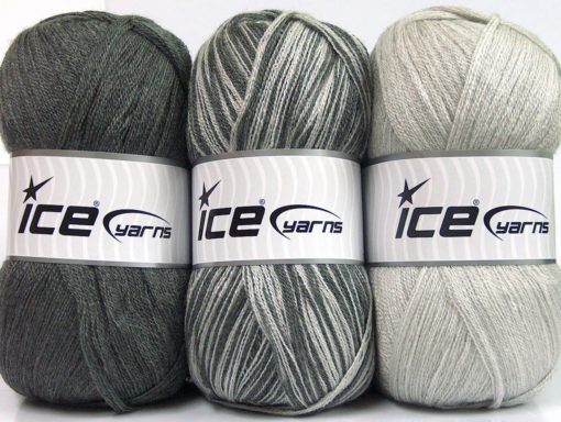 Lot of 3 x 100gr Skeins Ice Yarns BABY OMBRE Yarn Grey Light Grey