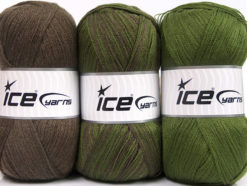 Lot of 3 x 100gr Skeins Ice Yarns BABY OMBRE Yarn Brown Dark Green
