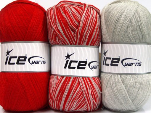 Lot of 3 x 100gr Skeins Ice Yarns BABY OMBRE Hand Knitting Yarn Red Light Grey