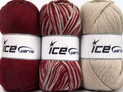 Lot of 3 x 100gr Skeins Ice Yarns BABY OMBRE Hand Knitting Yarn Burgundy Beige