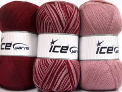 Lot of 3 x 100gr Skeins Ice Yarns BABY OMBRE Yarn Burgundy Light Orchid