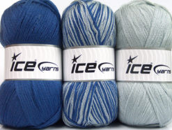 Lot of 3 x 100gr Skeins Ice Yarns BABY OMBRE Yarn Blue Light Grey