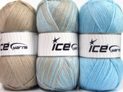 Lot of 3 x 100gr Skeins Ice Yarns BABY OMBRE Yarn Baby Blue Beige