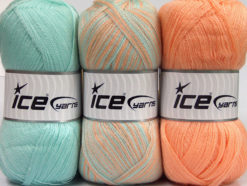 Lot of 3 x 100gr Skeins Ice Yarns BABY OMBRE Yarn Mint Green Light Orange