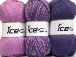 Lot of 3 x 100gr Skeins Ice Yarns BABY OMBRE Hand Knitting Yarn Lilac Purple